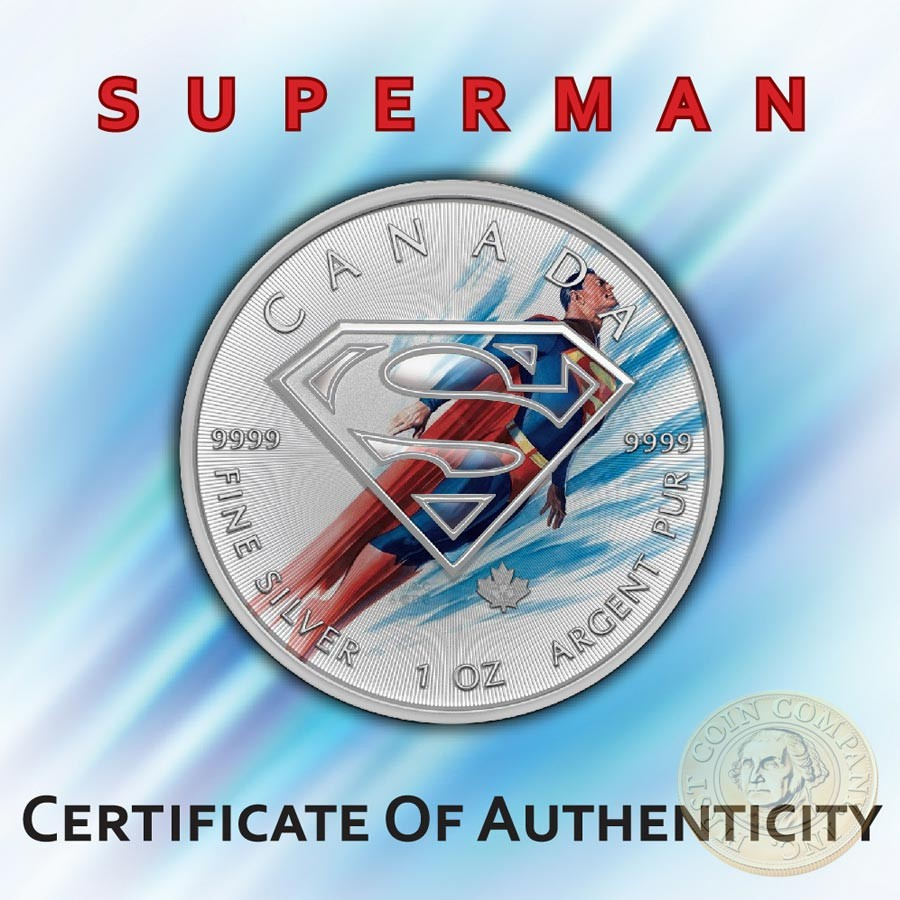 Canada SUPERMAN TELEPORTATION Canadian Maple Leaf $5 Silver Coin 2016 High relief of S-logo 1 oz