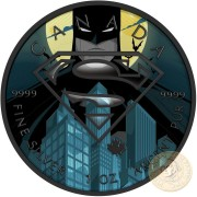 Canada DARKNESS SUPERMAN VS BATMAN Canadian Maple Leaf $5 Silver Coin 2016 High relief of S-logo Black Ruthenium plated 1 oz