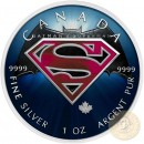 Canada ICONS SUPERMAN and BATMAN Canadian Maple Leaf $5 Silver Coin 2016 High relief of S-logo 1 oz