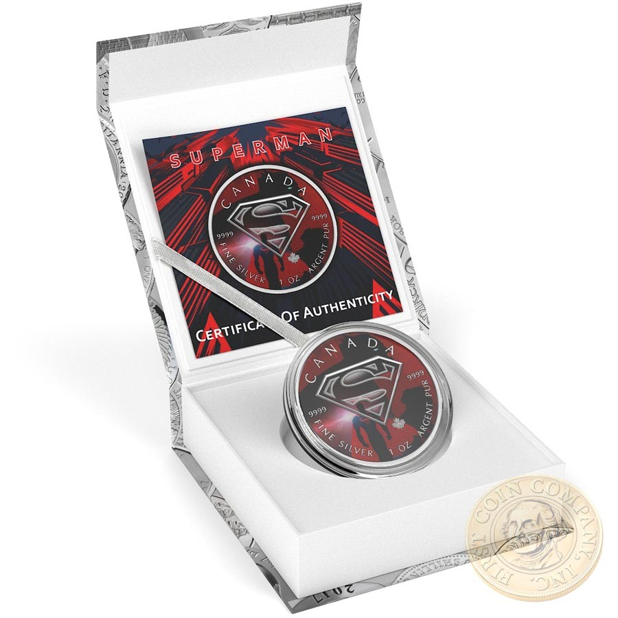 Canada NIGHT SHADOWS SUPERMAN VS BATMAN Canadian Maple Leaf $5 Silver Coin 2016 High relief of S-logo 1 oz
