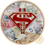 Canada SUPERMAN CANADIAN WEALTH Canadian Maple Leaf $5 Silver Coin 2016 High relief of S-logo Yellow Gold plated 1 oz