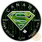 Canada SUPERMAN CRYPT WORLD Canadian Maple Leaf $5 Silver Coin 2016 High relief of S-logo 1 oz