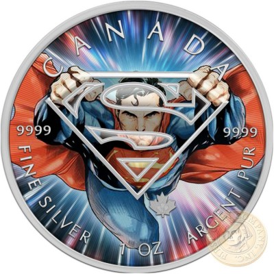 Canada SUPERMAN POWER Canadian Maple Leaf $5 Silver Coin 2016 High relief of S-logo 1 oz