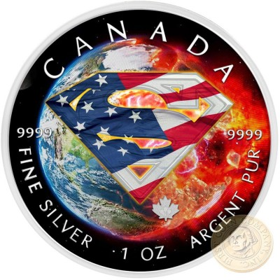 Canada SUPERMAN SOS AMERICA Canadian Maple Leaf $5 Silver Coin 2016 High relief of S-logo 1 oz
