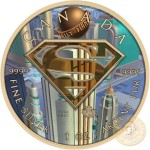 Canada SUPERMAN WORLD OF DAILY PLANET Canadian Maple Leaf $5 Silver Coin 2016 High relief of S-logo Yellow Gold plated 1 oz