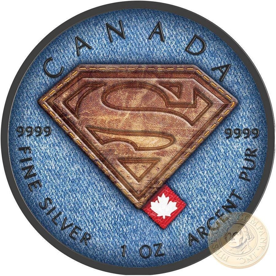 Canada SUPERMAN BRAND Canadian Maple Leaf $5 Silver Coin 2016 High relief of S-logo Black Ruthenium plated 1 oz
