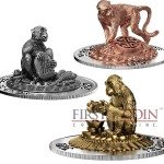 Rwanda Lunar Year of the Monkey 3D Sculpture Panorama 2016 Silver Three Coin Set 1500 Francs Yellow & Red Gilded and Antique finish 3 oz