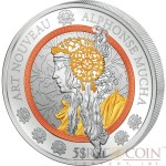 Samoa ALPHONSE MUCHA ART NOUVEAU Silver coin $5 Three precious metals plating Rose Gold Yellow Gold and Rhodium 2016 High detailed Minting 2 oz