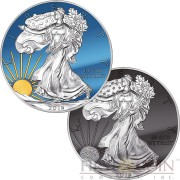 USA SUN & MOON AMERICAN SILVER EAGLE WALKING LIBERTY $2 Two Silver Coin set 2016 Black Ruthenium Diamond dust Gold plated Chromite Color 2 oz