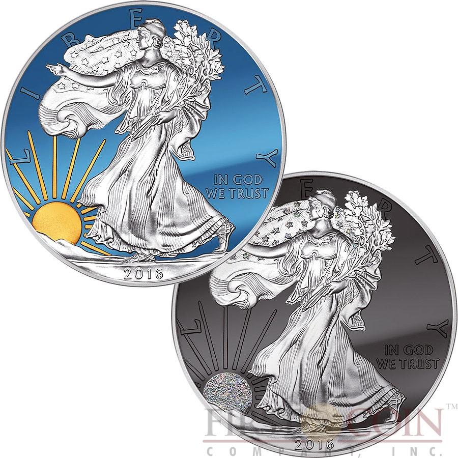 48fd02007 USA SUN & MOON AMERICAN SILVER EAGLE WALKING LIBERTY $2 Two Silver Coin set  2016 Black Ruthenium Diamond dust Gold plated Chromite Color 2 oz