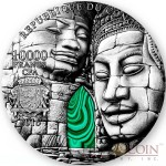 Republic Of Congo ANGKOR WAT 10,000 Francs Silver coin 2016 Malachite green stone Antique finish Ultra High Relief minting 1 Kilo / 32.15 oz