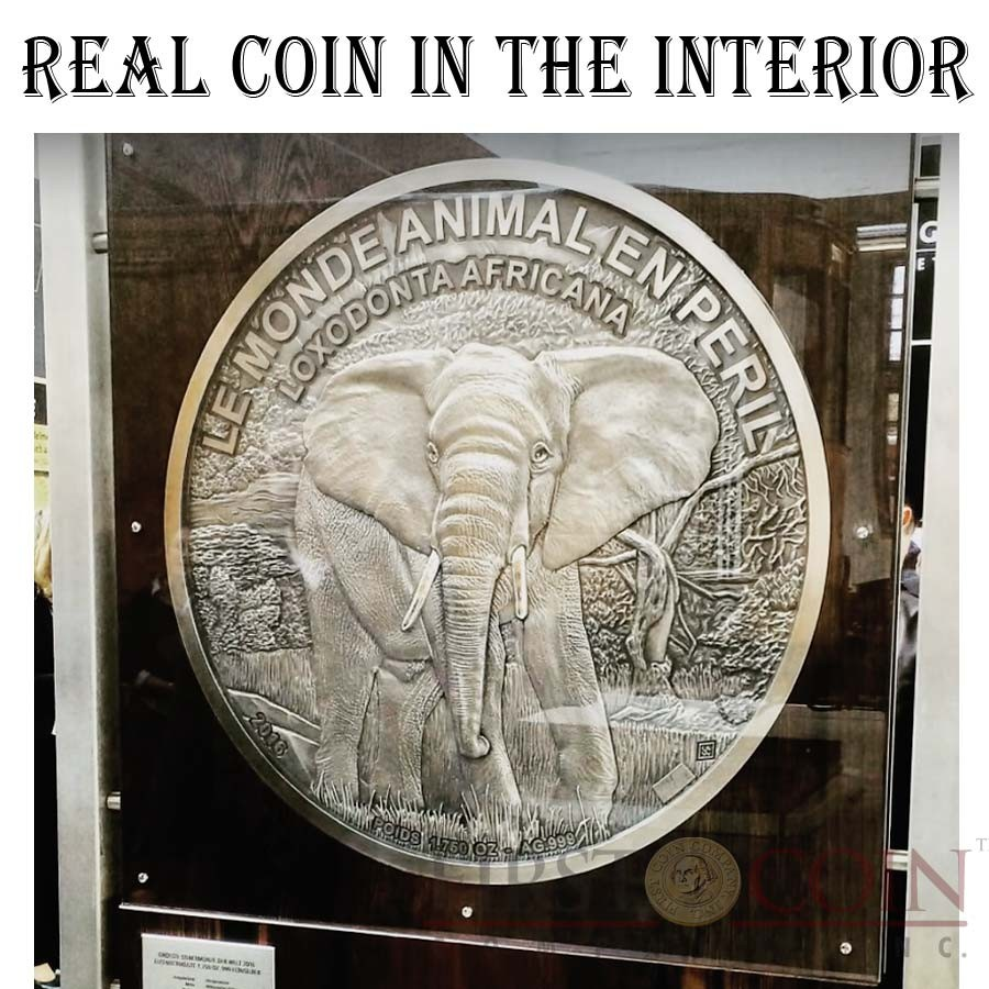 Ivory Coast BIGGEST SILVER COIN IN THE WORLD AFRICAN BUSH ELEPHANT THE ANIMAL WORLD IN DANGER LOXODONTA AFRICANA LE MONDE ANIMAL EN PERIL 1,000,000 Francs CFA 2016 Special minting and hand mill technique Antique finish 56.264 Kilo / 1750 oz