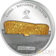 Cook Islands BEIJING STADION $10 Series WORLD MONUMENTS Silver Coin 2014 Proof Gilded