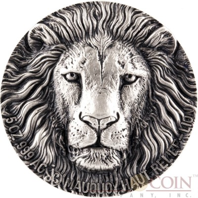 Ivory Coast LION series BIG FIVE MAUQUOY HAUT RELIEF 5000 Francs Silver coin Ultra High Relief 2016 Antique finish 5 oz
