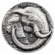 Ivory Coast ELEPHANT series BIG FIVE MAUQUOY HAUT RELIEF 5000 Francs Silver coin Ultra High Relief 2017 Antique finish 5 oz