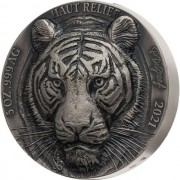 Ivory Coast TIGER series ASIA BIG FIVE MAUQUOY HAUT RELIEF 5000 Francs Silver coin Ultra High Relief 2021 Antique finish 5 oz