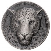Ivory Coast LEOPARD series BIG FIVE MAUQUOY HAUT RELIEF 5000 Francs Silver coin Ultra High Relief 2018 Antique finish 5 oz