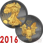 USA TWO SIDES SPECIAL EDITION 30th ANNIVERSARY OF THE AMERICAN SILVER EAGLE WALKING LIBERTY series GOLDEN ENIGMA EDITION Black Ruthenium & Two Sides Gold Plated 2016 1 oz