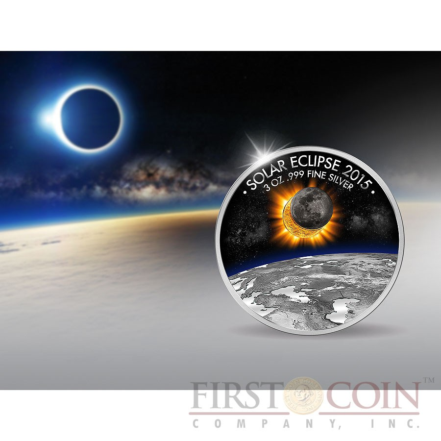 Burkina Faso SOLAR ECLIPSE OF THE SUN Silver coin 1500 Francs 2015 Gold Plated 3 oz