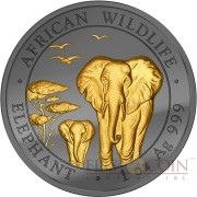 Somalia ELEPHANT AFRICAN WILDLIFE series GOLDEN ENIGMA EDITION 100 Shillings 2015 Black Ruthenium & Gold Plated Silver coin 1 oz
