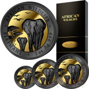 Somalia AFRICAN WILDLIFE ELEPHANT series GOLDEN ENIGMA EDITION 375 Shillings 2015 Black Ruthenium & Gold Plated Four Silver Coin Set 3.75 oz