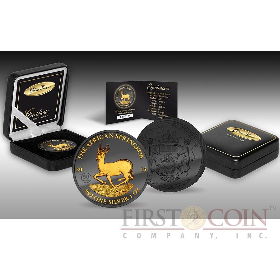 Gabon AFRICAN SPRINGBOK 50TH ANNIVERSARY WILDLIFE series GOLDEN ENIGMA EDITION 2015 Black Ruthenium & Gold Plated Silver coin 1 oz