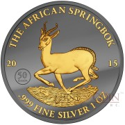 Gabon AFRICAN SPRINGBOK 50TH ANNIVERSARY WILDLIFE series GOLDEN ENIGMA EDITION 2015 Black Ruthenium & Gold Plated Silver coin 1 oz