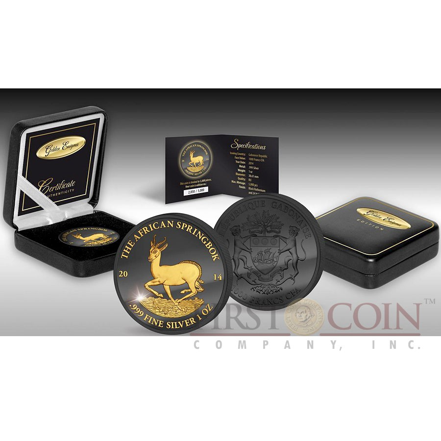 Gabon AFRICAN SPRINGBOK WILDLIFE series GOLDEN ENIGMA EDITION 2014 Black Ruthenium & Gold Plated Silver coin 1 oz
