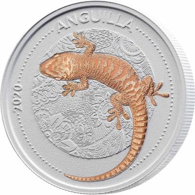 Anguilla GECKO series CeCo $1 Silver Coin 2020 Gold plated 1 oz