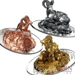 Rwanda Lunar Year of the Goat 3D Sculpture Panorama 2015 Silver Three Coin Set 1500 Francs Yellow & Red Gilded and Antique finish 3 oz