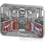 Cook Islands ROYAL PALACE OF CASERTA REGGIA ITALY series GRAND INTERIORS Silver coin $10 2014 Innovative Partial Antique Finish and Proof High Relief Marble Inlays 2.5 oz