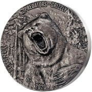 Ivory Coast GRIZZLY series PREDATORS 5000 Francs Silver coin Two Sides Ultra High Relief 2020 Antique finish 3 oz