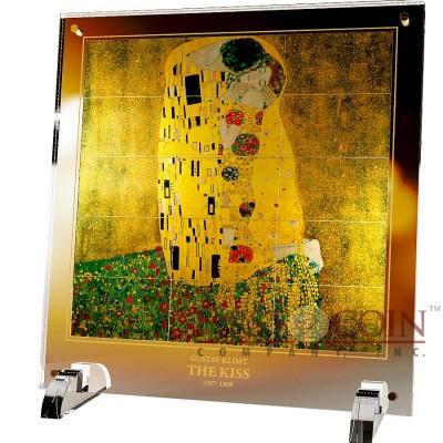 Niue Island THE KISS by GUSTAV KLIMT series GIANTS OF ART 15 Silver Coin Set $75 Iris Gold Finish 2015 Gold Color Fusion 1 Kilo / 1050 grams / 34 oz