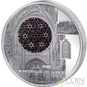 Cook Islands LA SEU CATHEDRAL OF PALMA $10 Windows of Heaven Silver Coin Colored Window Proof-like 2016