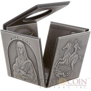 Niue Island MASTERPIECES OF A GENIUS LEONARDO DA VINCI series OPEN CUBE SHAPED 12 sides $25 Silver coin 2015 Antique finish 6.5 oz