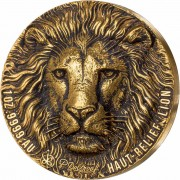 Ivory Coast LION series BIG FIVE MAUQUOY HAUT RELIEF 100 Francs Gold coin Ultra High Relief 2020 Antique finish 1 oz
