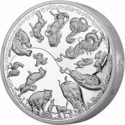 Samoa MULTI-YEARS LUNAR CALENDAR - 12 CHINESE ZODIACS $25 Silver Coin Proof 888g