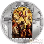 Cook Islands RESURRECTION OF CHRIST TINTORETTO EASTER PREMIUM EDITION Series MASTERPIECES OF ART $20 Silver Coin Swarovski Crystals 2016 Proof 3 oz