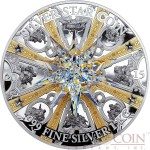 Cook Islands MORAVIAN STAR $100 Silver coin 2015 Gold plated Antique Finish Effect Big Crystal 1 Kilo