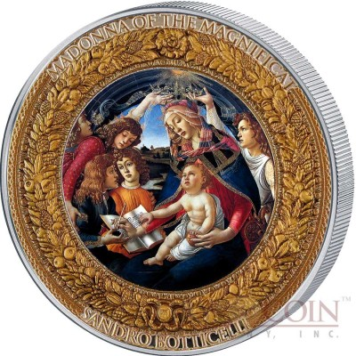 Niue Island MADONNA OF THE MAGNIFICAT SANDRO BOTTICELLI Series PERFECTION IN ART 2015 Silver coin $10 Gold plated high relief frame 2 oz