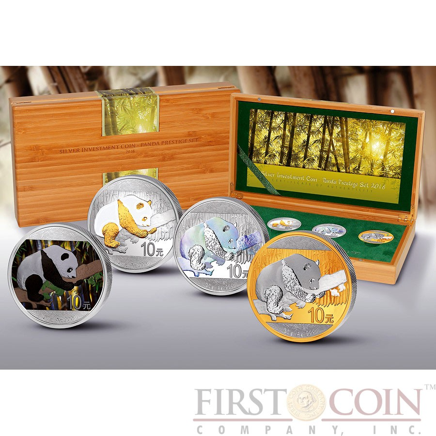 China Investment Panda Prestige Set 2016 Four Silver Coin