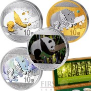China INVESTMENT PANDA PRESTIGE SET 2016 Four Silver Coin Set ¥40 Yuan 2016 Gold plated Jade Moon stone Chromite Color Dynamic silver hologram 3.9 oz
