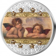Cook Islands ANGELS OF SISTINE MADONNA - RAFFAELLO SANZIO series MASTERPIECES OF ART $20 Silver Coin 2020 Proof 3 oz
