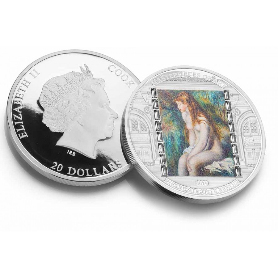 Cook Islands YOUNG GIRL BATHING - 100TH ANNIVERSARY RENOIR series MASTERPIECES OF ART $20 Silver Coin 2019 Proof 3 oz
