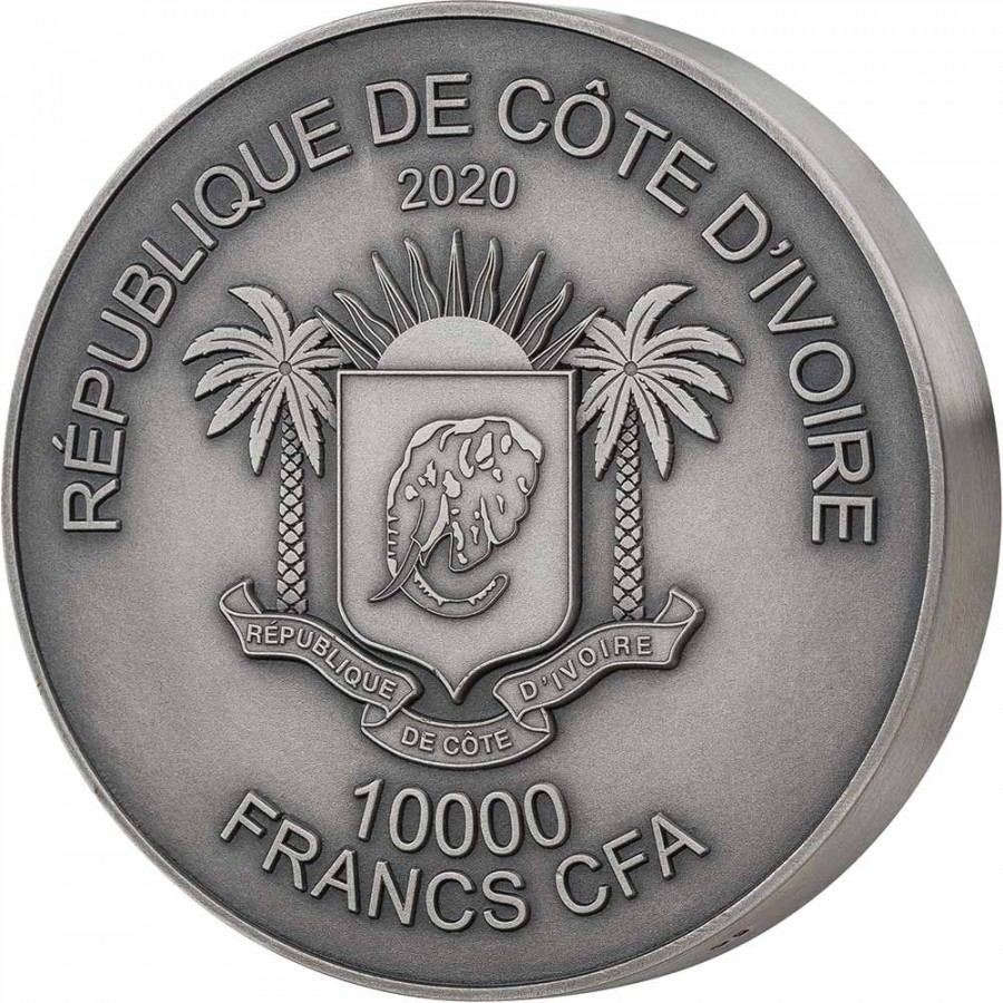 Ivory Coast RHINO series BIG FIVE MAUQUOY HAUT RELIEF 10000 Francs Silver coin Ultra High Relief 2020 Antique finish 1 Kg Kilo