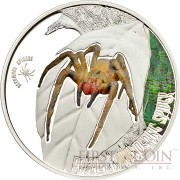 Cook Islands BRAZILIAN WANDERING SPIDER $2 series VENOMOUS SPIDERS Silver coin Partly colored Proof 2013