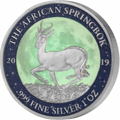 Gabon AFRICAN SPRINGBOK MOON LANDING Krugerrand Apollo-11 50th Anniversary Silver Coin 1000 Francs Glow in the Dark 2019 Proof 1 oz