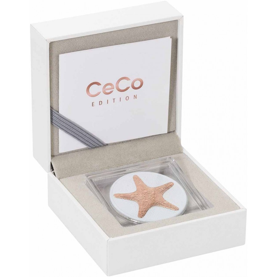 Cook Islands STARFISH series CeCo $1 Silver Coin 2019 Gold plated 1 oz