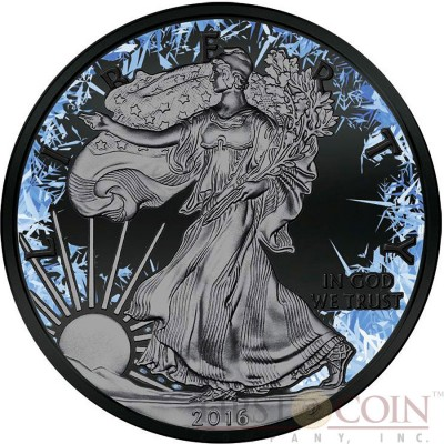 USA DEEP FROZEN AMERICAN SILVER EAGLE WALKING LIBERTY series DEEP FROZEN $1 Silver coin 2016 Black Ruthenium and Platinum plated 1 oz