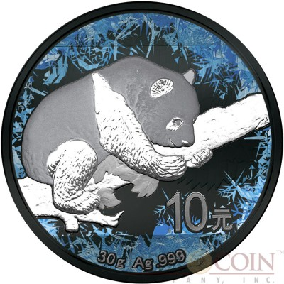 China FROZEN PANDA series DEEP FROZEN ¥10 Yuan Silver Coin 2017 Black Ruthenium and Platinum plated 30 grams
